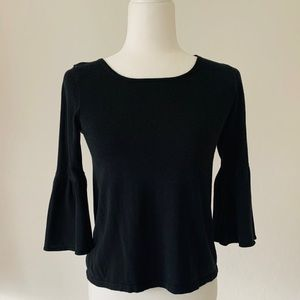 LOFT Small Black 3/4 Bell Sleeve Sweater